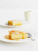 Filo pastry cheese cake with orange sauce