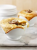 Chicken pot pie with mushrooms and leeks