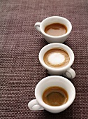 Three cups of espresso