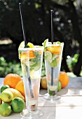 Mojitos with citrus fruits and mint