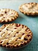 Three Rhubarb Pies with Lattice Crusts