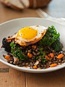 A Fried Egg Over Lentils and Kale