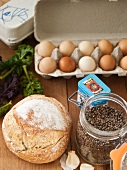 Assorted Ingredients: Lentils, Bread Loaf, Eggs and Kale