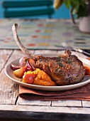Pork Chop with Pureed Squash and Roasted Fruit and Vegetables