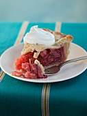 A Slice of Rhubarb Pie with Whipped Cream