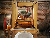 Man with organic cider press