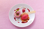 A raspberry cake and raspberry ice cream