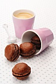 Chocolate macaroons and a cup of coffee