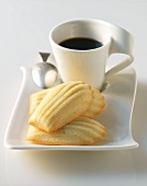 Madeleines Cookies with a Cup of Coffee