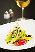 Greek Horiatiki Salad with a Glass of White Wine