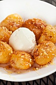 Loukoumades; Greek Fried Dough Balls with Honey and Cinnamon; Vanilla Ice Cream