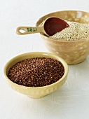 Red and White Quinoa in Bowls
