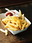 Crinkle Cut French Fries with Ketchup