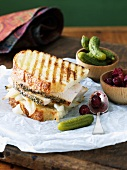 Turkey Panini Sandwich with Cranberry Sauce and Pickles