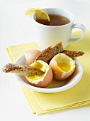 Soft Boiled Eggs with Whole Wheat Toast and a Cup of Tea