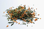 Genmaicha tea leaves with orange zest