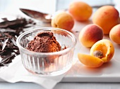 Mousse au chocolat and fresh apricots