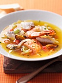 Zuppa di mare (fish stew with mussels and prawns, Italy)