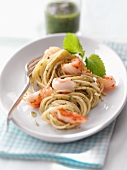 Pasta alla triestina (pasta with lemon balm pesto and prawns)