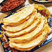 Platter of Shrimp Quesadillas; Salsa