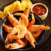 Bowl of Whole Shrimp with Tortilla Chips and Salsa