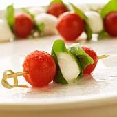 Tomato, Basil and Mozzarella Skewers