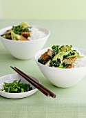 Rice with chicken, bok choy and broccolini (Asia)
