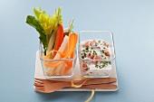 Vegetable sticks with prawn yogurt