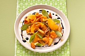 Chanterelle mushroom and peach salad