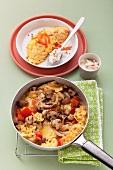 Omelett mit Räucherlachs und Apfelmeerrettich & Omelett mit Champignons