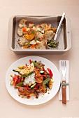 Gerösteter Blumenkohl mit Eierwürfeln & Putengeschnetzeltes mit Gemüse