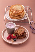 Pancakes and French toast with berry quark