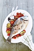 Gilthead sea bream with summer vegetables