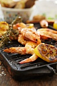 Grilled prawns with lemon and rosemary