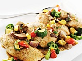 Sauteed Chicken Breasts with Mixed Vegetables in a White Wine Sauce