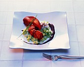 Lobster with a leek medley and chocolate sauce