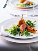 Quail with rocket and polenta slices