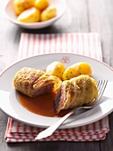 Cabbage roulade with new potatoes