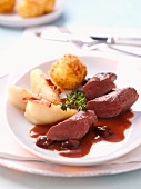Fillet of hare with pears and potato croquettes