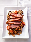 Mushroom salad with duck breast