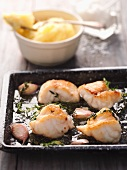 Roasted monk fish with garlic and thyme