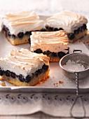 Blueberry cake with meringue