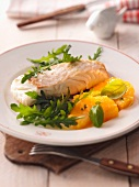 Halibut with rocket and oranges