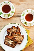 Raisin bread and tea