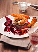 Surf & Turf with beetroot salad