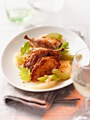 Roast quail with celery