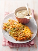 Vegetable cakes with sour cream