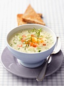 Cucumber soup with smoked salmon and dill