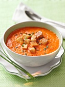 Pepper soup with croutons