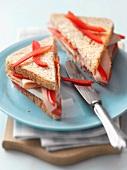 Turkey sandwich with pepper strips